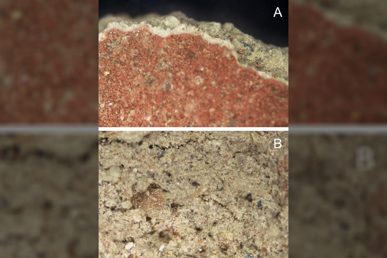"""Giluminiame molio mišinio sluoksnyje (iliustracijos apačioje) būta baltojo kalcito pigmento, o viršus (iliustracijos viršuje) buvo padengtas ochra – raudonu mineraliniu pigmentu<br>""""PLOS One"""" iliustr."""