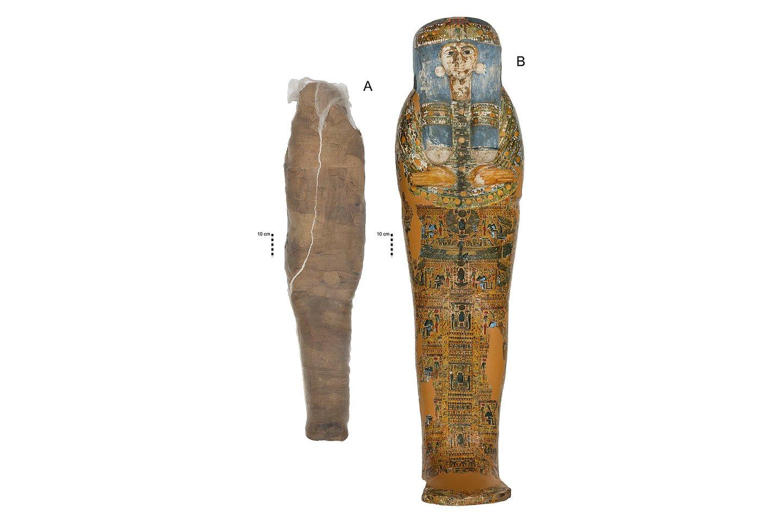 """Kaip ir daugelį senovės Egipto mumijų, karste palaidotą """"molio mumiją"""" XIX a. įsigijo Vakarų kolekcininkas.<br>""""PLOS One"""" iliustr."""