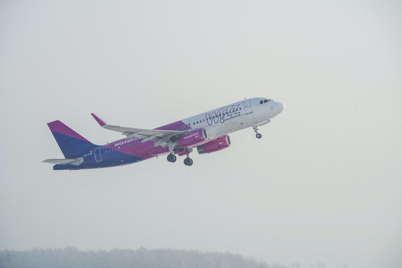 """Vilniaus oro uoste alytiškė sužinojo, kad į """"Wizz Air"""" orlaivį nebus įleista.<br>V.Ščiavinsko nuotr."""