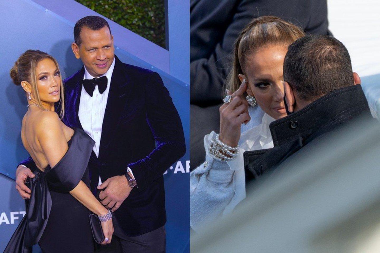 Karantinas paveikė Jennifer Lopez su sužadėtiniu Alexu santykius.<br>LR koliažas.