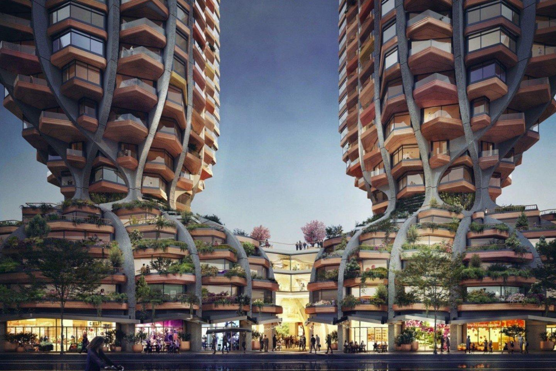 """Britų architektų firma """"Heatherwick Studio"""" pristatė akį traukiančių bokštų porą, suplanuotų Vankuverio mieste, Kanadoje.<br>""""Heatherwick Studio"""" / technologijos.lt vizual."""