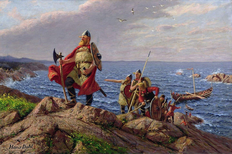 """Kirtę Atlanto vandenyną vikingai atrado uolėtą ir nederlingą žemę dabartinėje Kanadoje. L.Erikssonas šias žemes pavadino """"Hellulandu"""".<br>Hanso Dahlo (1849-1937) pav."""