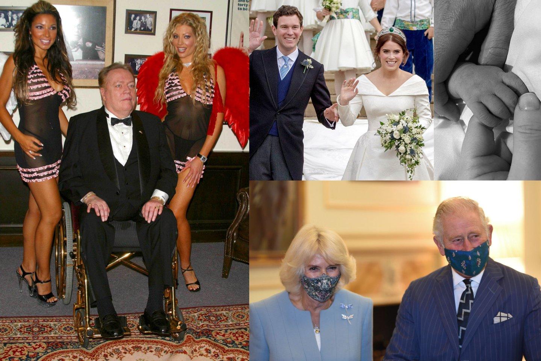 Larry Flyntas, Jackas Brooksbankas ir princesė Eugenie, princas Charlesas su sutuoktine Camilla.<br>lrytas.lt montažas.