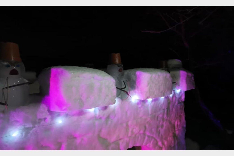 Sniego pilį, karalių ir karius šeima pastatė per penkis vakarus.<br>Asmeninio archyvo nuotr.