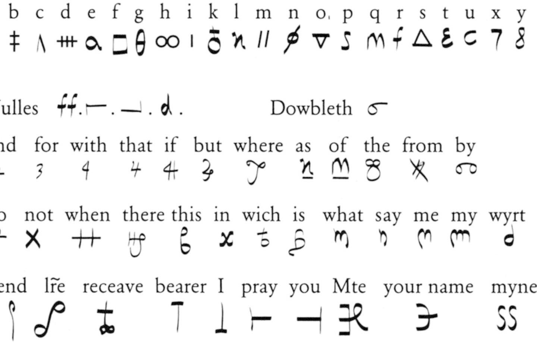 Škotijos karalienės Marijos Stiuart nomenklatūra, sudaryta iš šifro abėcėlės ir kodinių žodžių.<br>Leidėjų nuotr.