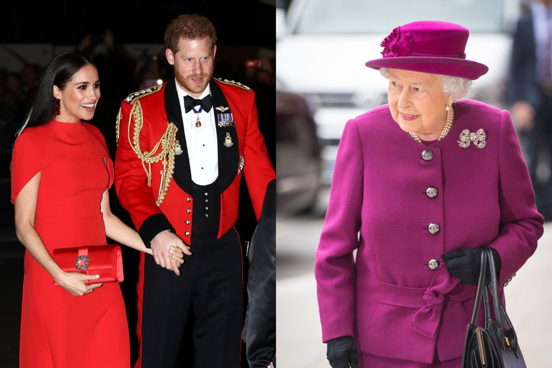 Meghan Markle ir princas Harry, karalienė Elizabeth II.<br>lrytas.lt montažas.