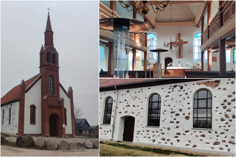 Restauruota Kretingalės bažnyčia.<br>Lrytas.ltkoliažas.