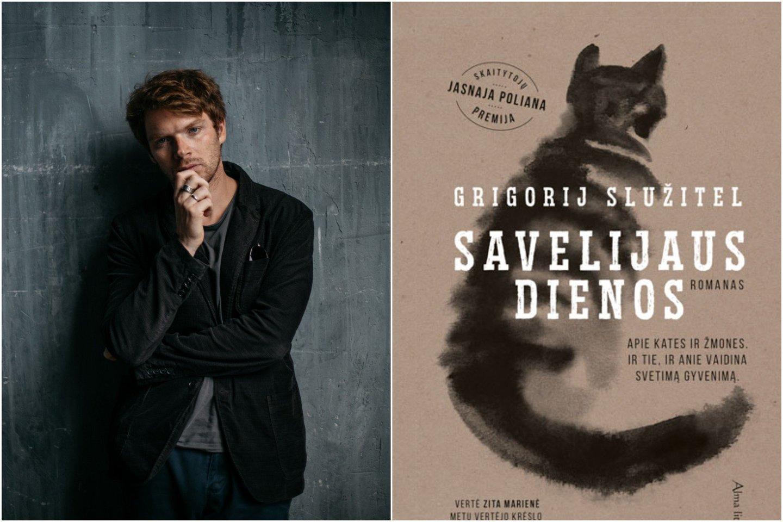 """Prieš trejus metus po katino kojomis krito Rusija – pirmasis aktoriaus G.Služitelio romanas """"Savelijaus dienos"""" buvo pavadintas literatūriniu įvykiu.<br>Lrytas.lt koliažas."""