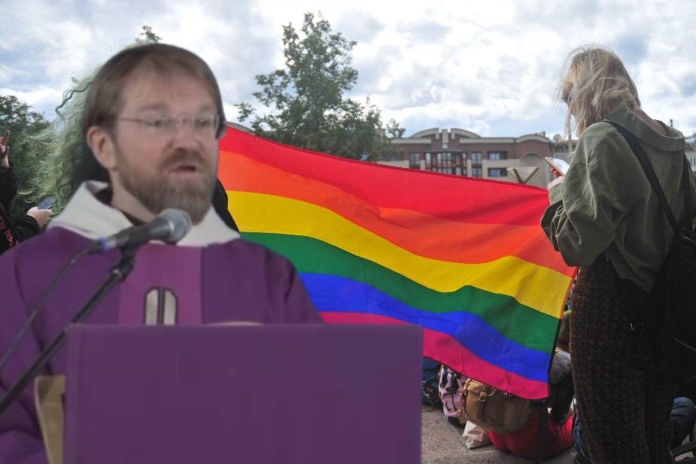"""P.Vaineikis Mišių metu teigė, kad """"šėtonas susimokė politiniu lygmeniu iškreipti žmogaus prigimtį"""", ir netrukus pažėrė kritikos LGBT bendruomenei.<br>Lrytas.lt fotomontažas"""