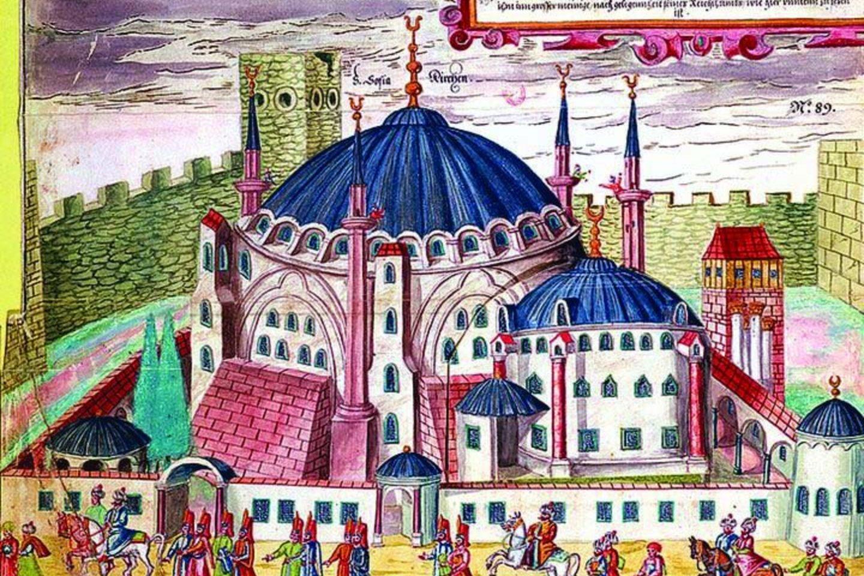 XVI a. piešinys, kuriame pavaizduota Šv. Sofijos bažnyčia, pertvarkyta į Aya Sofya mečetę. Ji papildyta minaretais, kuriuos suprojektavo žymusis otomanų architektas Sinanas.