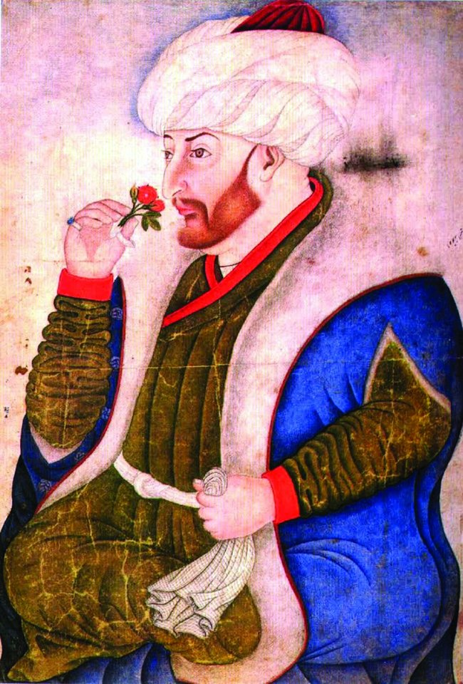 Mechmedas – estetas ir mokslo žmogus. Pusiau stilizuota otomanų miniatiūra, vaizduojanti sultoną vėlesniaisiais jo gyvenimo metais.