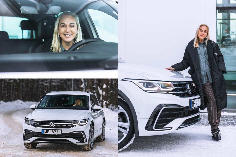 """Indrė Stonkuvienė išbandė """"Volkswagen Tiguan"""".<br>lrytas.lt montažas."""