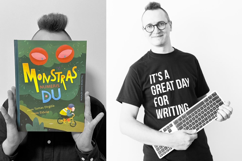 """Knygų serija """"Domas ir Tomas"""" išgarsėjęs rašytojas T.Dirgėla skaitytojams dovanoja savo jubiliejinę – jau dvidešimtąją – knygą!<br>lrytas.lt koliažas"""