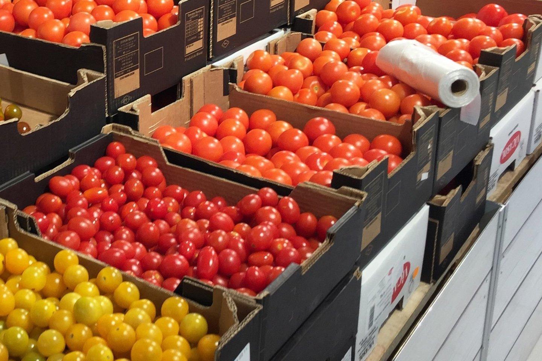 Parduotuvių lentynos lietuviškomis daržovėmis – agurkais, salotomis ir pomidorais – nukrautos jau nuo pirmos kovo savaitės.<br>M.Patašiaus nuotr.