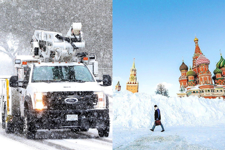 Sniegas praėjusią užklupo Šiaurės pusrutulį: nuo Rusijos iki Teksaso.<br>Scanpix/Reuters nuotr.