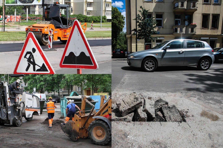 Duobės keliuose kelia itin daug žalos automobiliams ir kovo mėnuo yra tas laikas, kai savo dėmesį vairuotojai turėtų koncentruoti būtent į jas.<br>lrytas.lt fotomontažas