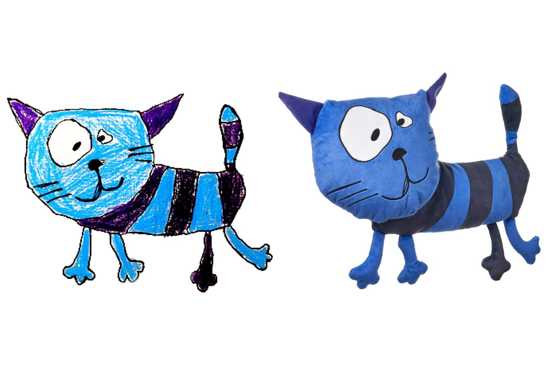 """""""Pagalvojau, kad reikia nupiešti savo mėgstamą katiną, bet padaryti jį mėlyną, nes tai svajonių spalva"""", – pasakoja Liepa.<br>IKEA nuotr."""