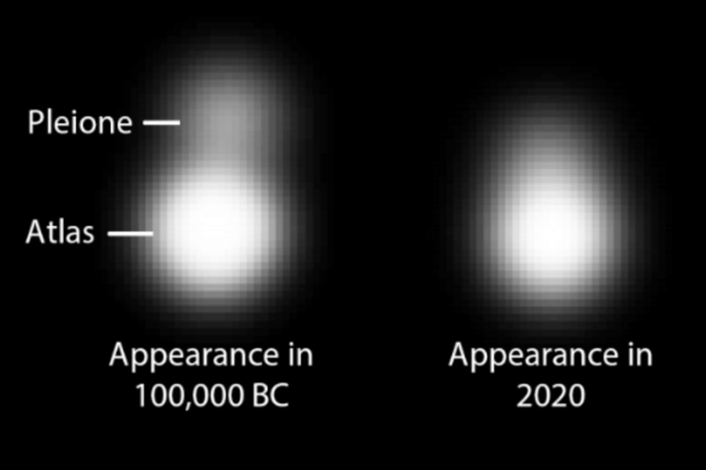 Tikėtinas Atlanto ir Plejonės vaizdas prieš 100 tūkstančių metų (kairėje) ir vaizdas šiandien (dešinėje), įvertinus žmogaus akies skiriamąją gebą.<br>Norris &amp; Norris iliustr.