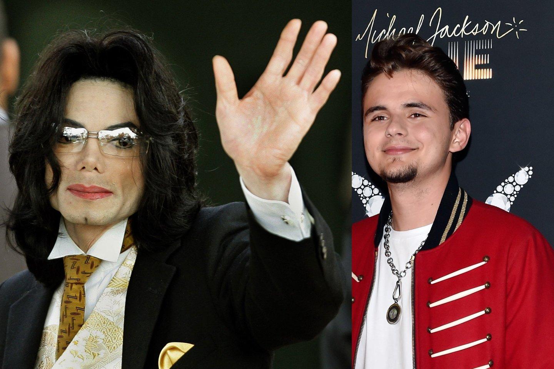 Michaelas Jacksonas su sūnumi Price'u.<br>LR koliažas.