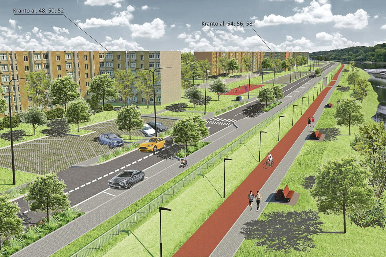 Projektiniuose pasiūlymuose numatyta, kad žvyrkelis taps gatve su šaligatviais, prie daugiabučių atsiras automobilių stovėjimo aikštelės.
