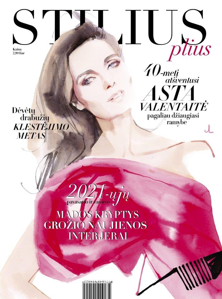 """Žurnalo """"Stilius plius"""" 2021-ųjų pavasario-vasaros numerio viršelyje – akvarelės technika pieštas Astos Valentaitės portretas, kurį sukūrė prancūzų menininkas Marcas Antoine'as Coulonas.<br>Marco Antoine'o Coulono iliustracija, Erikos Stanevičiūtės maketas."""