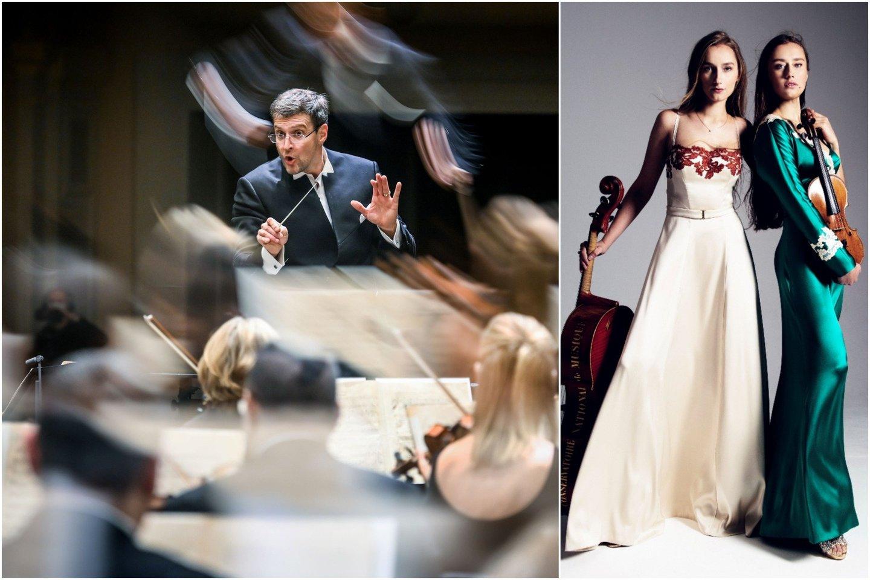 Koncerte su M.Pitrėno diriguojamu Lietuvos nacionaliniu simfoniniu orkestru pasirodys dvi seserys muzikės iš Latvijos – smuikininkė Kristine ir violončelininkė Margarita Balanas.<br>Lrytas.lt koliažas.