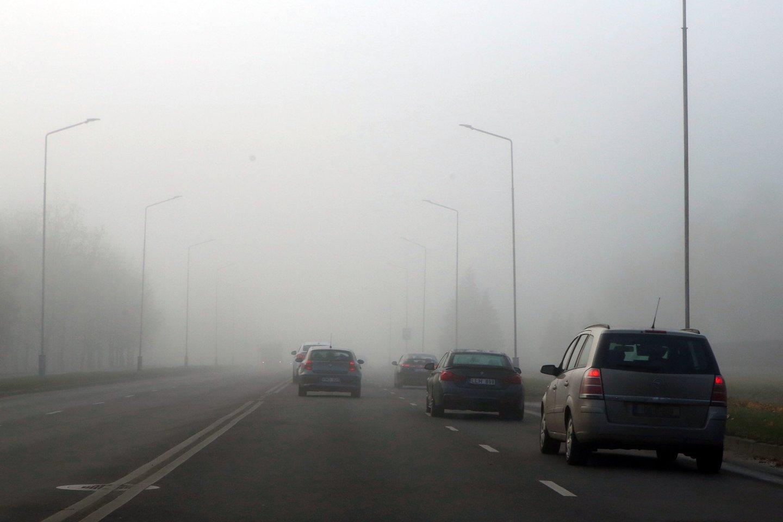Rajoniniuose keliuose yra slidžių ruožų, eismo sąlygas sunkina rūkas.<br>M.Patašiaus nuotr.