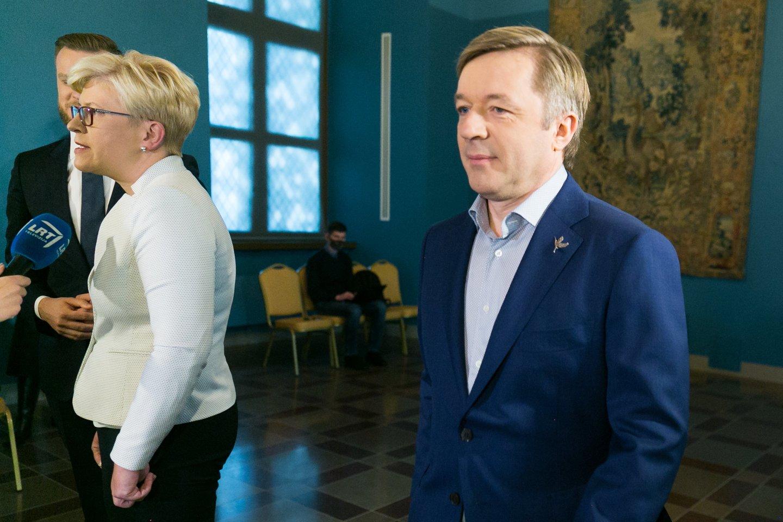 Ramūnas Karbauskis, Ingrida Šimonytė, Gabrielius Landsbergis<br>T.Bauro nuotr.