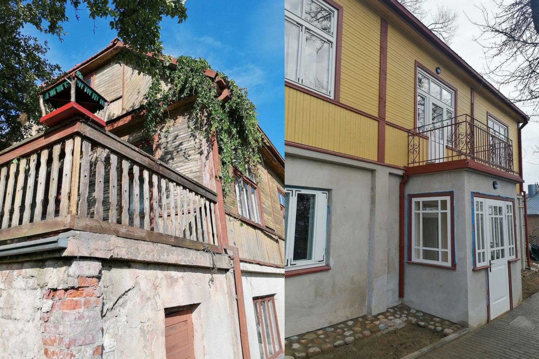 Juozo Zikaro memorialinis muziejaus pastatas prieš ir po remonto.<br>M.K.Čiurlionio muziejaus nuotr.