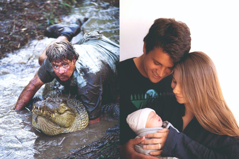 Lygiai prieš metus su vandenlentininku Ch.Powellu susituokusi gamtininko dukra Bindi ant rankų jau sūpuoja savo dukrelę.<br>Scanpix ir Instagram nuotr.
