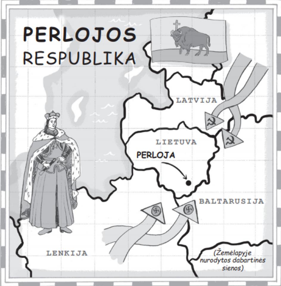 """Knygos""""Išnykusių šalių žemėlapis"""" iliustracija."""