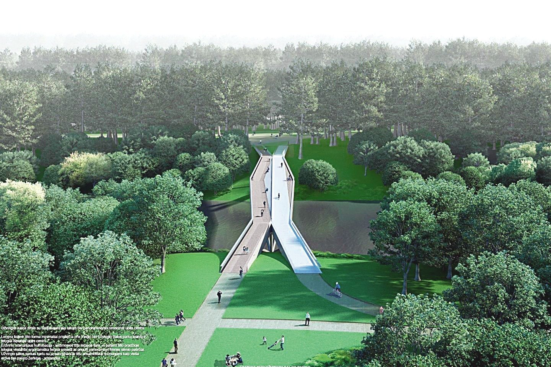 Pėsčiųjų tilto per Nerį, sujungsiančio sostinės Lazdynų mikrorajoną su Vingio parku, projekto vystymo kai kurios procedūros pristabdytos, tačiau pats projektas toliau tęsiamas.<br>Vizualizacija.