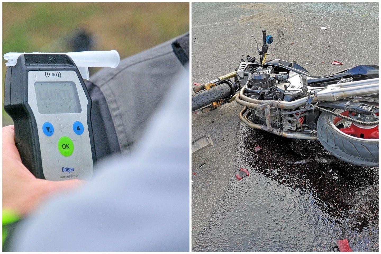 Girtas automobilio vairuotojas Garliavoje nutrenkė motociklininką.<br>Lrytas.lt fotomontažas