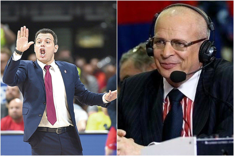 D.Itoudis (kairėje) dažnai sulaukia V.Gomelskio kritikos.<br>Lrytas.lt ir slamdunk.ru nuotr. koliažas.