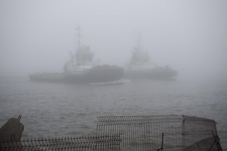 Klaipėdos jūrų uostas rūke.<br>V. Ščiavinsko nuotr.