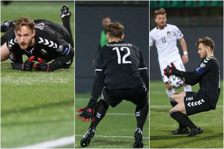 T.Švedkauskas per rungtynes su Italijos futbolo žvaigždėmis praleido du įvarčius, bet jį gyrė ne tik lietuviai, bet ir patys italai.<br>lrytas.lt koliažas.