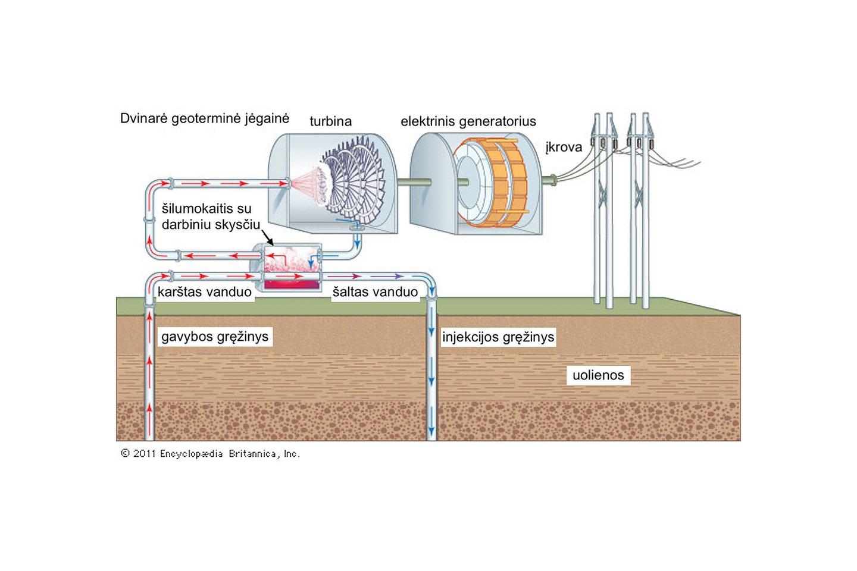 Schema, iliustruojanti dvinarės geoterminės jėgainės komponentus. Versta iš Britanikos enciklopedijos, 2011.
