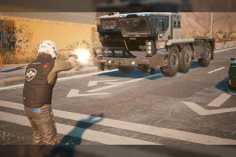 """Ekrano nuotrauka iš žaidimo""""Cyberpunk 2077""""."""