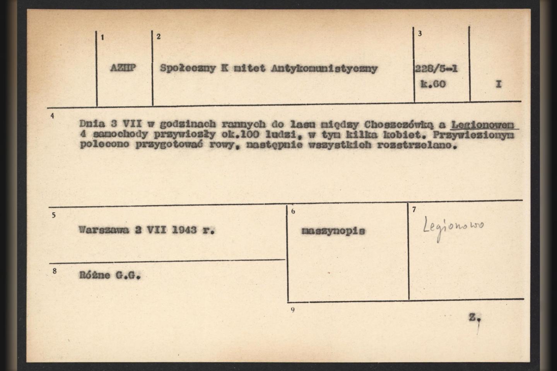 Siejant su atradimu, archyvas publikavo Lenkijos Pogrindžio pranešimą.<br>IPN nuotr.