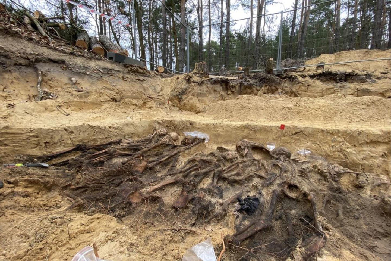 Specializuota paieškos komanda iš Nacionalinio atminties instituto (IPN) kūnus surado miškingame Białołękos rajone.<br>IPN nuotr.