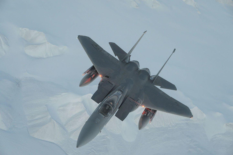 """JAV Karinės oro pajėgos paskelbė, kad """"McDonnell Douglas F-15 Eagle"""" pratybų metu atliko ilgiausią sėkmingą šūvį raketa oras-oras.<br>Wikimedia commons"""