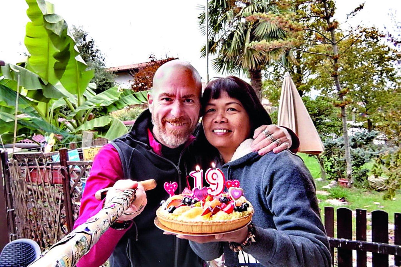 A.Spinelli su žmona Sally šiemet jau atšventė 20-ąsias vestuvių metines.<br>Nuotr. iš asmeninio albumo