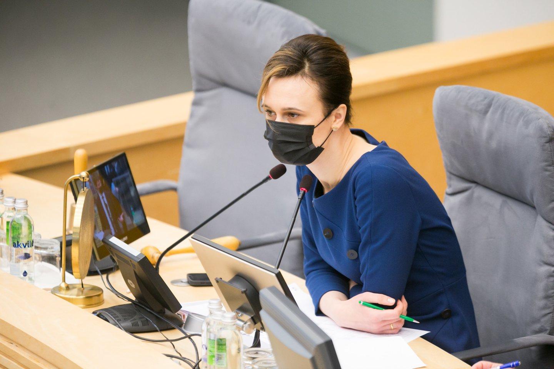 V.Čmilytė-Nielsen teigė, kad jai siūlymas Seimo nario mandato atsisakiusiems parlamentarams uždrausti kandidatuoti kituose Seimo rinkimuose kelia abejonių.<br>T.Bauro nuotr.