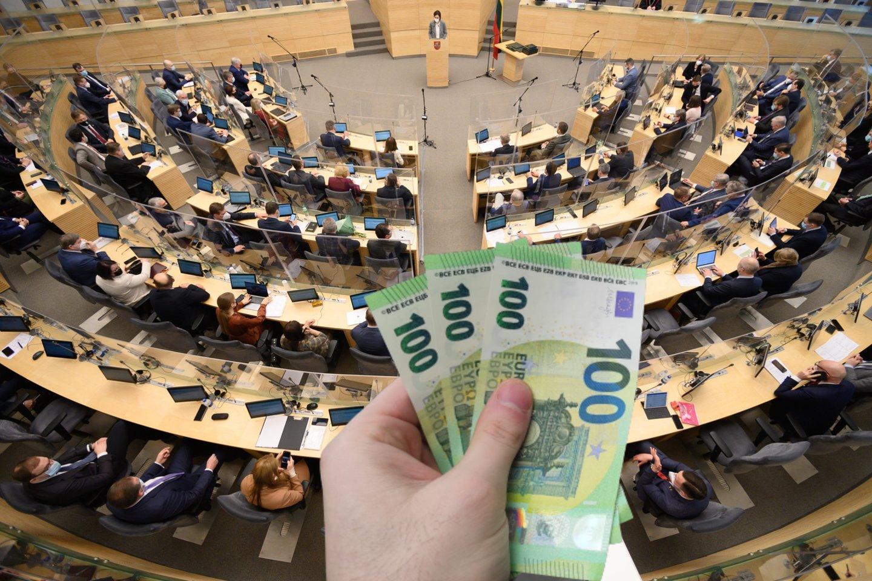 Pradėjus švelninti pusmetį šalyje trunkantį karantiną politikai irgi nusprendė save paglostyti – Seimo valdyba plačiau atvėrė parlamentinei veiklai skiriamų lėšų aruodą.<br>Lrytas.lt montažas
