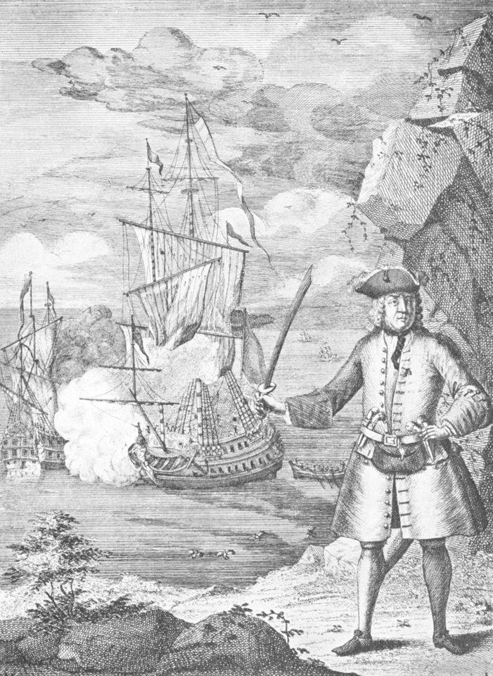 Kaptino H.Every įgula plėšiaDidžiojo Mogolo laivus, XVII a. iliustr.<br>Mary Evans Picture Gallery / Scanpix iliustr.
