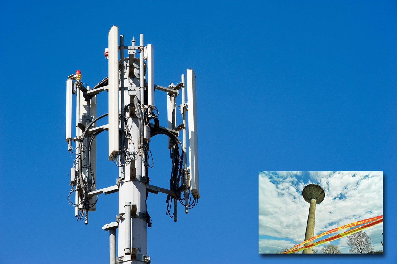 """Kretingoje Melioratorių gatvėje Mobiliojo ryšio įrangą vandens bokšte turintys mobiliojo ryšio operatoriai paprašė Kretingos rajono savivaldybės nutolinti bokšto galimus griovimo darbus.<br>123rf,""""Pajūrio naujienų"""" nuotr, lrytas.lt mont."""