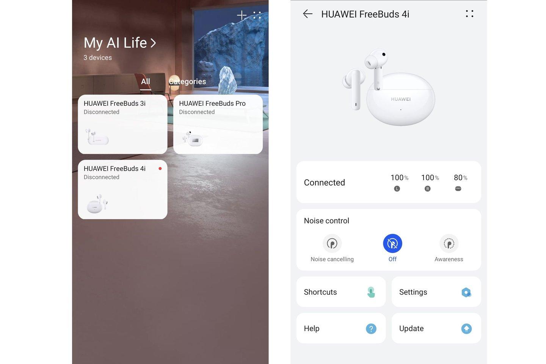 """Tokia """"Huawei"""" įranga kaip ausinės (ir daug kitų šio gamintojo įrenginių) valdoma per programėlę """"AI Life""""."""