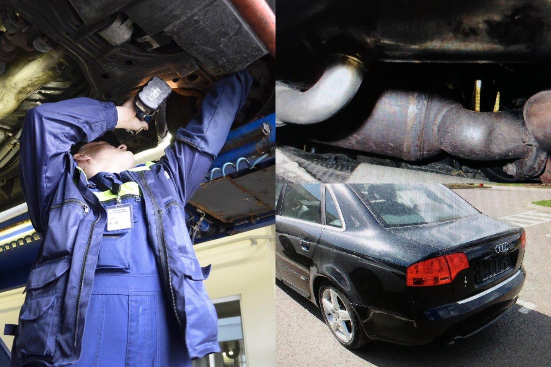 """Dėl """"Audi A4"""" techninės apžiūros kauniečiui kilo rimtų sunkumų.<br>Lrytas.lt fotomontažas."""