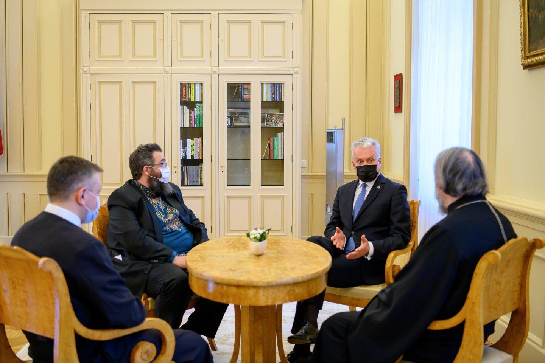 Prezidentas G.Nausėda susitiko su stačiatikių, sentikių ir unitų religinių bendrijų vadovais.<br>R.Dačkaus nuotr.
