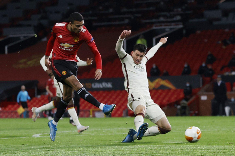 """""""Manchester Unirted"""" žaidėjas Masonas Greenwoodas pelnė šeštą įvartį.<br>AFP/Scanpic.com. nuotr."""